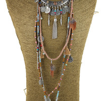 Gypsy Vintage Long Necklace Ethnic jewelry boho necklace tribal collar Tibet Jewelry