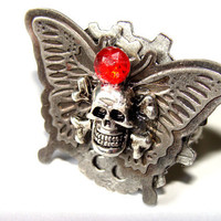Gothic Steampunk Adjustable Ring Butterfly Skull And Crossbones Fun Fashion Jewelry