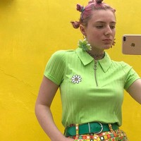 Summer tops for women 2018 ulzzang Green short sleeve Floral Embroidery unif Women t shirst streetwear harajuku tee shirt femme