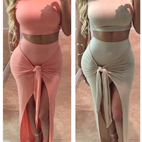 Sleeveless Cropped Top and Wrap Tie Slit Maxi Skirt