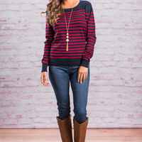 All American Sweater, Navy-Red