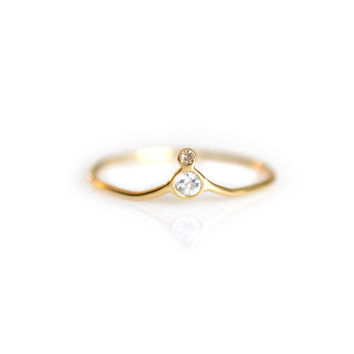 14kt Gold Sapphire & Champagne Diamond Arc Ring