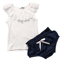 Baby Girls Lace Top T-shirt Denim Pants Bottoms Clothes 2PCS Newborn Toddler Baby Girl Clothing Set Outfits