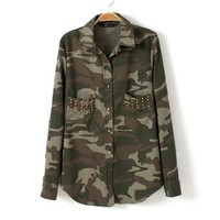 Camo Military Studded Top from ICA'STORE
