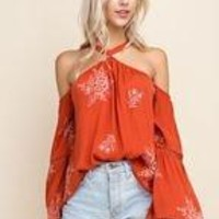 Halter Style Embroidered Tank
