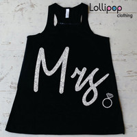 Mrs. glitter Tank top.  Bride to be tank top. wedding gift. bridal shower .Bachelorette party. Workout tank top.Running crossfit top.