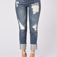 Eddie Boyfriend Jeans - Medium Wash