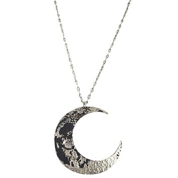 Restyle Goth Textured Antique Silver Luna Large Crescent Moon Occult Witch Necklace