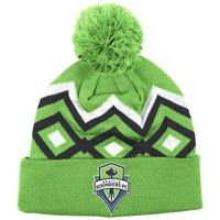 Mens adidas Seattle Sounders Green Cuffed Knit Hat With Pom