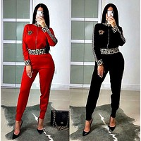 VERSACE New Popular Women Casual Round Collar Top Pants Set Two-Piece red