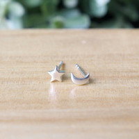 Moon and Star Stud Earrings - Moon and Star Post Earrings - Sterling Silver Star and Moon Studs