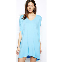 Short Sleeve Solid Round Neck Casual Dress