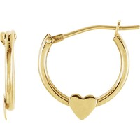 14k Yellow Gold Children's Heart Hoop Earrings