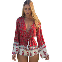 Boho Printed Women V-Neck Romper Long Sleeve