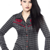 "Women's ""Dark Rose"" Dolly Top by Sourpuss Clothing (Grey)"