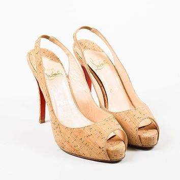 HCXX Christian Louboutin Cork Peep Toe Slingback Heeled   No Prive 120   Pumps