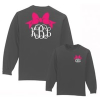 Under The Carolina Moon: Preppy Bow Monogram Shirt Long Sleeve