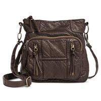 Women's Distressed Crossbody Handbag with Front Pockets - Brown
