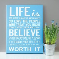'Life Is Too Short' Quote Print Or Canvas