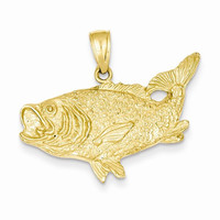 14k Gold Polished Open-Backed Bass Fish pendant