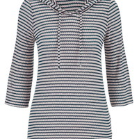 Striped Knit Hooded Pullover - Gray