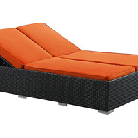 Evince 2- Seater Chaise, Espresso/Orange, Outdoor Chaise Longues