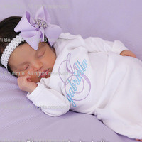 Newborn girl gown Infant gown Baby girl gown Monogrammed gown Personalized gown Take home outfit Newborn Girl Gift