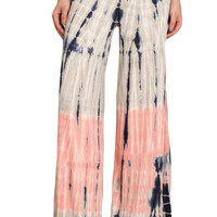 Womens Coral Pink & Beige Color Block Tie Dyed Wide Leg Palazzo Pants