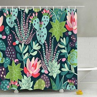 Colorful Succulents Shower Curtain