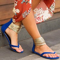 Zipper Pure Color Ankle Wraps Thong Women Flat Sandals