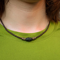 Men's Braided Leather Necklace with Stained Wooden Bead and Metal Accents