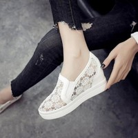 2018 New Fashion Womens Shoes Casual Wedges Mesh Shoe Slip On Lady aa0773