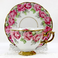 Vintage Teacup and Saucer, Royal Sealy Tea Cup, Banded Pink Roses Japan 12605