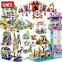 QWZ Girls Toys Mermaid Princess Model Building Blocks Compatible With Legoings Bricks Educational Toy Friends For Kids Gifts