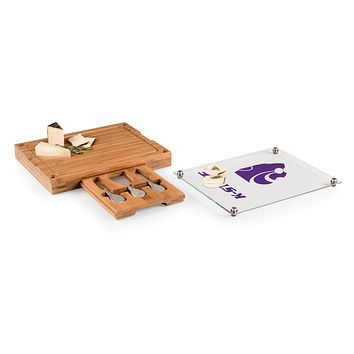 Kansas State Wildcats - Concerto Glass Top Cheese Cutting Board & Tools Set, (Bamboo)