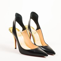 PEAPU2C Christian Louboutin Black and Gold Leather Spiked Survivita 100 Pumps