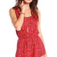 COLLAGE PRINTED ROMPER - RED