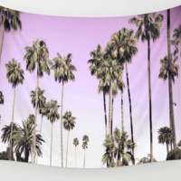 Beverly Hills California Pink Palm Trees Wall Art Tapestry Perfect for Living Room or Bedroom