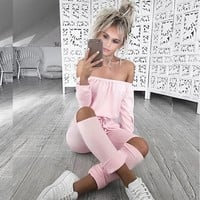Women Casual Fashion Solid Color Bodycon Off Shoulder Long Sleeve Romper Jumpsuit Trousers