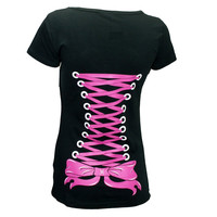 Restyle Pink CORSET Lace up print V-Neck Black Women's T-Shirt