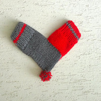 One mitten for two hearts, knitted lovers gloves for him and her, with hearts, valentines day, wedding, anniversary, engagement gift