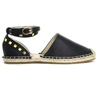 Metallic Studded Textured Black Espadrille Flats