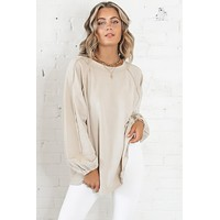 Be True To Yourself Khaki Oversized Knit Top