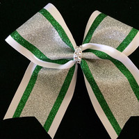 """Rhinestone and glitter cheer, softball, volleyball 3"""" hair bow with 3 colors"""