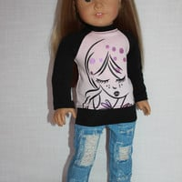 18 inch doll clothes, pink and black graphic print shirt, blue ripped denim skinny jeans, american girl ,maplelea