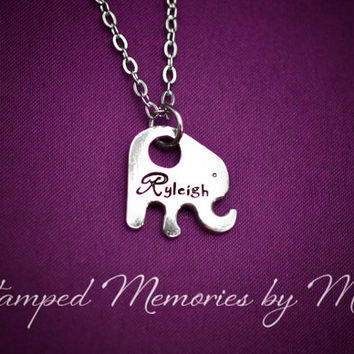 Little Elephant - Personalized Hand Stamped Pewter Necklace - Pachyderm Jewelry - Handstamped Jewelry - Name Necklace - Gift for Daughter