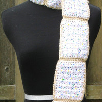 Crocheted Frosted Strawberry Pop-Tart Scarf w/ Multi-Colored Sprinkles, Perfect for Gifts, Ready to Ship