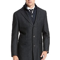 Wool Blend 'Lonso' Detachable Lining Tweed Coat by BOSS Selection