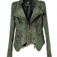 Spiked Denim Biker Jacket with Zipped Cuffs
