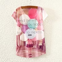 White Balloons And Letter Print T-Shirt